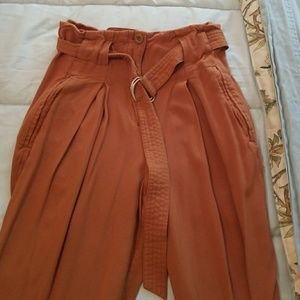 Forever 21 paper bag high waist camel pants XS
